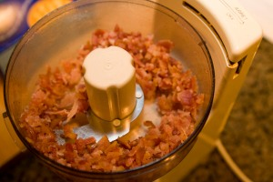 Bacon chopped in the food processor